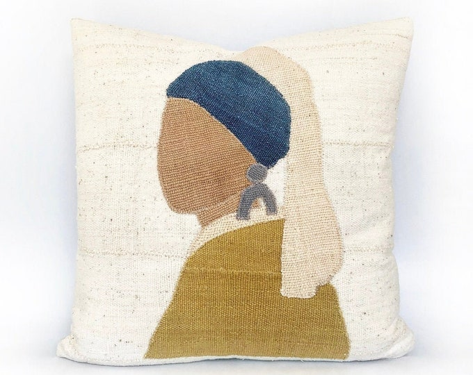 Girl With A Pearl Earring But Much Cooler African Mudcloth Pillow Cover 20x20