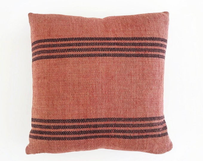 Berry Pink Linen Grain Sack Pillow Cover 18x18