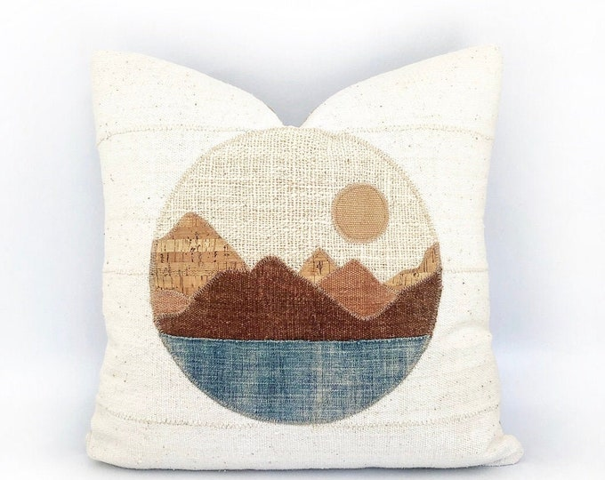 Vintage African Indigo And African Mudcloth Modern Landscape Circle Pillow Cover 20x20