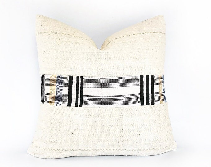 Woven African Kente Textile And Mudcloth Pillow Cover 20x20