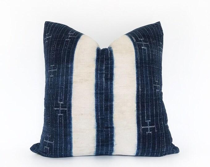 Vintage Indigo Hemp Hmong Hill Tribe Batik Pillow Cover 20x20