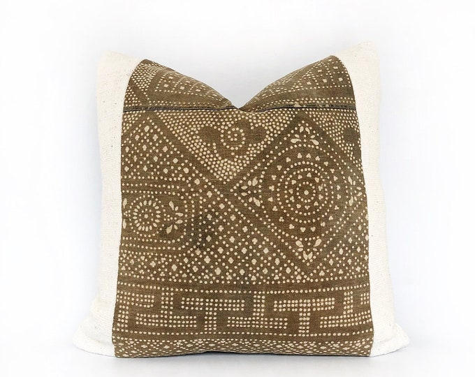 Vintage Brown Chinese Batik And African Mudcloth Pillow Cover 20x20