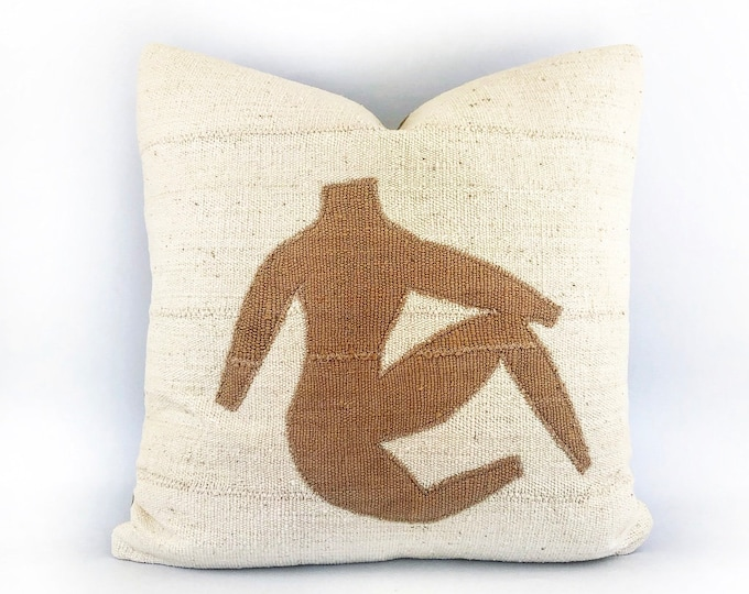 Modern African Mudcloth Female Figure Pillow Cover 20x20