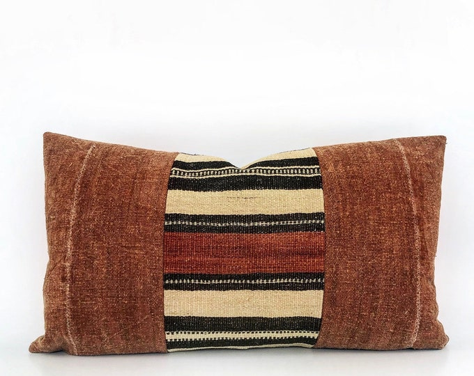 Vintage Wool African Fulani Textile And Rust African Mudcloth Lumbar Pillow Cover 14x24