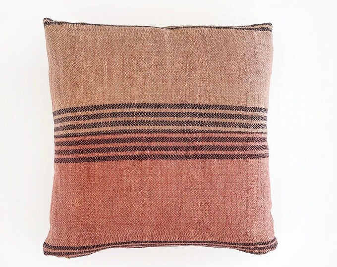 Berry Pink And Mauve Linen Grain Sack Pillow Cover 20x20