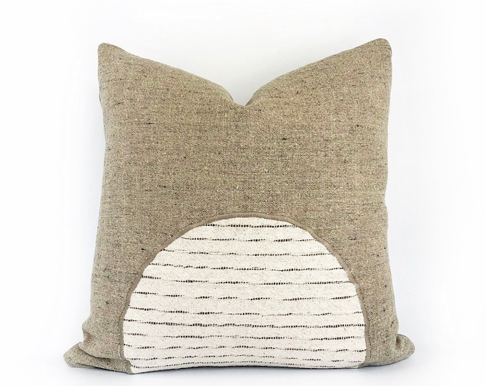 Organic Libeco Belgian Linen And Hmong Hill Tribe Textile Pillow Cover 20x20