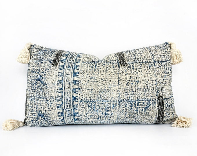 Hand Block Printed Lumbar Pillow Cover With Tassels 14x24