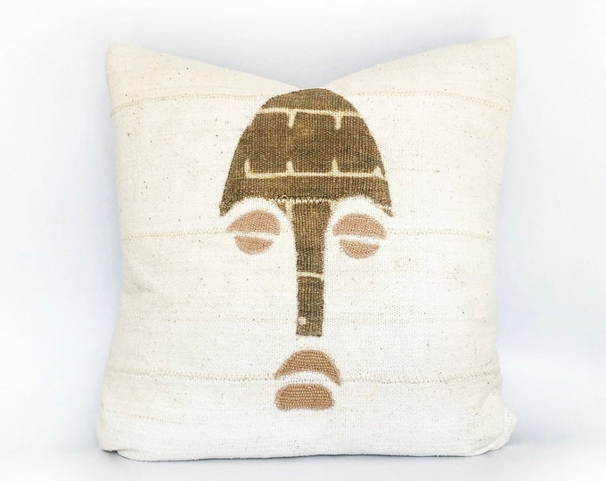 African Mudcloth Tribal Mask Pillow Cover 20x20