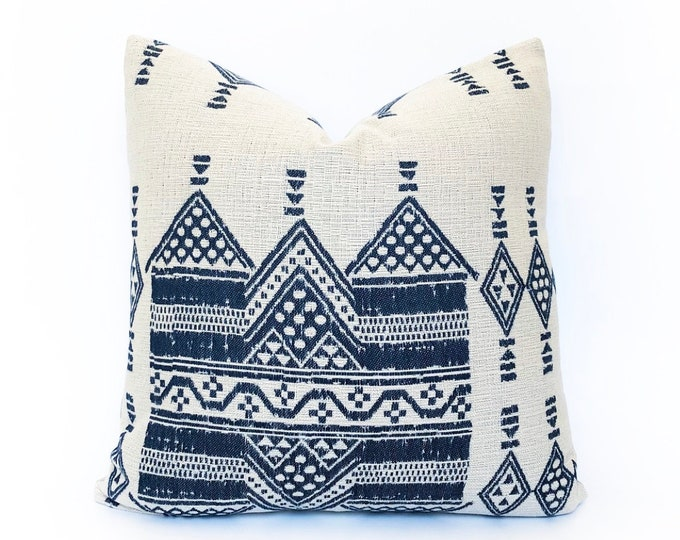 Indoor/Outdoor Woven Blue African Tribal Pillow Cover 20x20