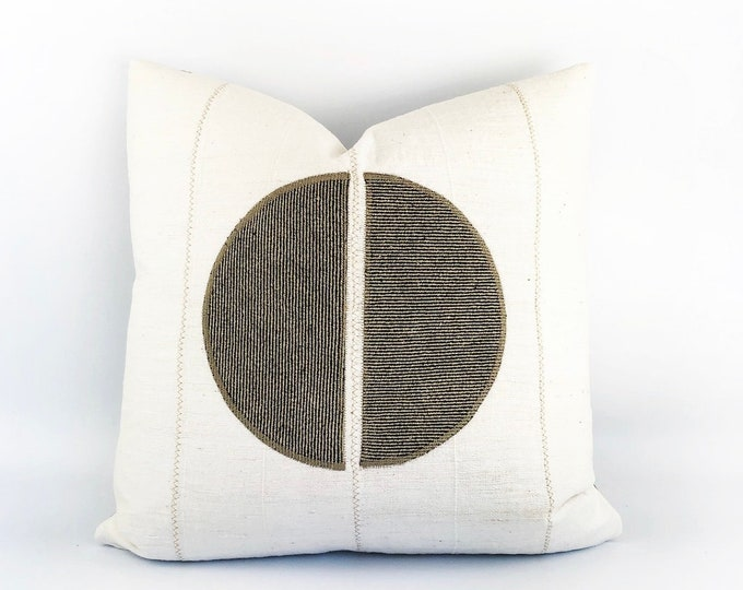 African Mudcloth And Belgian Linen Circle Pillow Cover 20x20