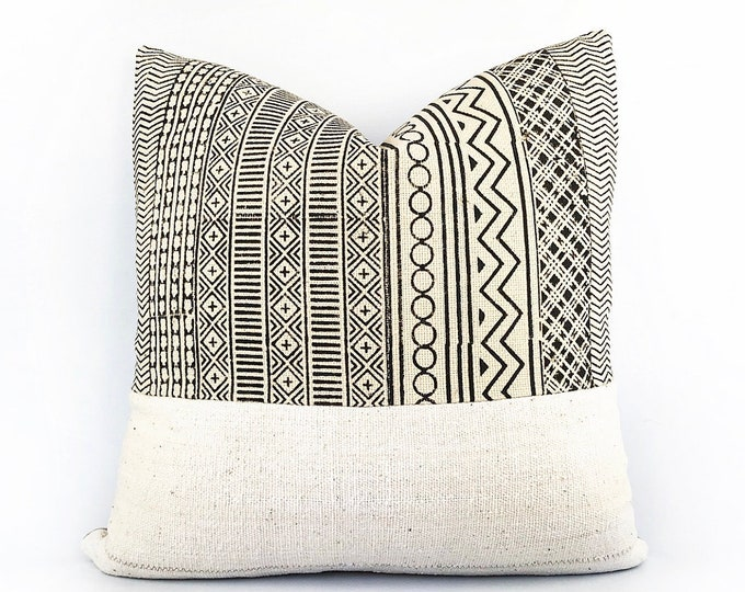 African Mudcoth And Hand Block Printed Textile Pillow Cover Various Sizes