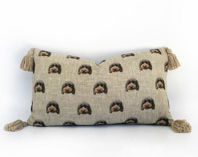 Custom 100% Flax Linen Floating Head Pet Tassel Pillow 14x24