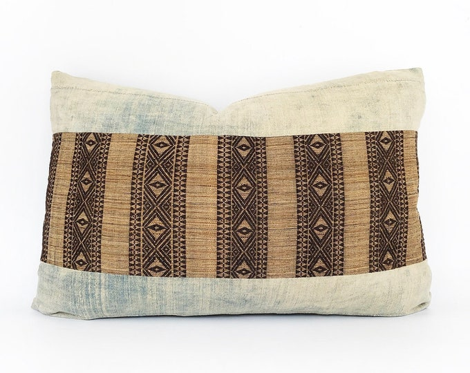 Handwoven Chin Tribal Textile And Super Faded Vintage African Indigo Lumbar Pillow Cover 16x24