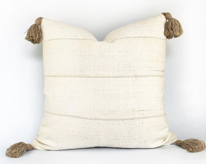 Authentic Natural African Mudcloth And Flax Linen Gray Tassel Pillow Cover Various Sizes