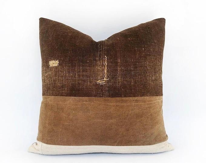 Antique Japanese Saka-Bukuro Sake Bag Textile And Antique French Linen Pillow Cover 20x20