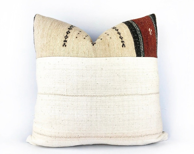 Vintage Handwoven African Fulani Textile And Mudcloth Pillow Cover 20x20