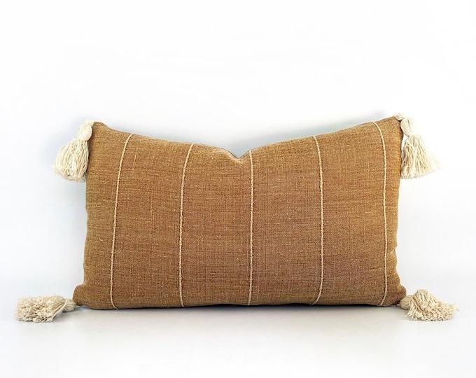 Designer Terra-Cotta Linen And Tassel Lumbar Pillow Cover 12x20