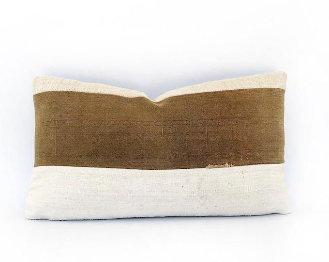 Antique Japanese Sake Bukuro, Antique French Linen And African Mudcloth Lumbar Pillow Cover 14x24