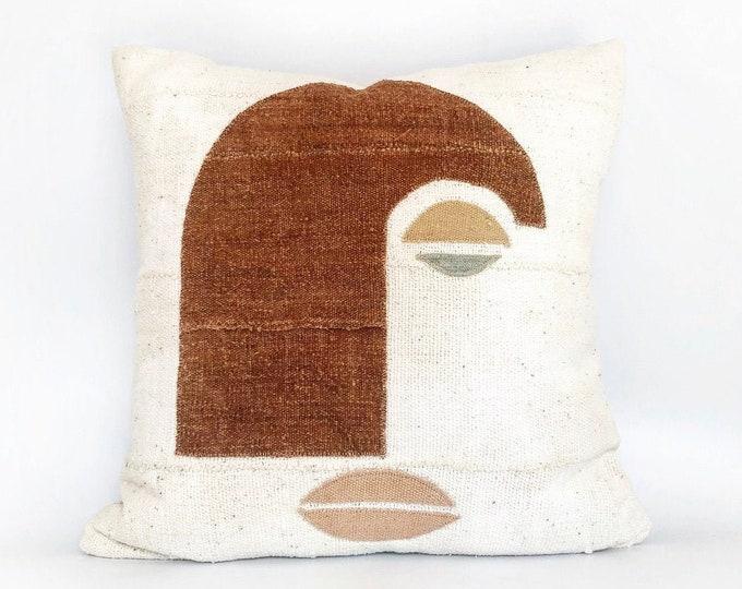 African Mudcloth Modern Face Pillow 20x20