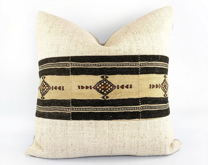 Vintage African Fulani Wool Blanket And Handwoven Indian Textile Pillow Cover Various Sizes