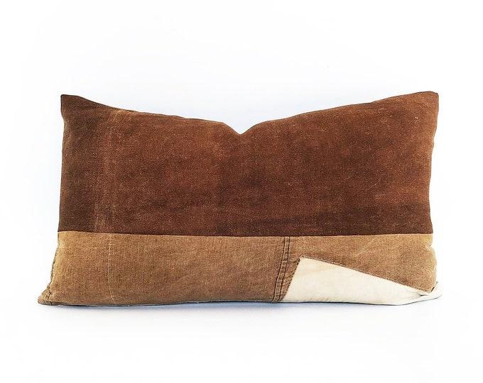 Antique Japanese Sake Burkuro Textile Pillow Cover 14x24