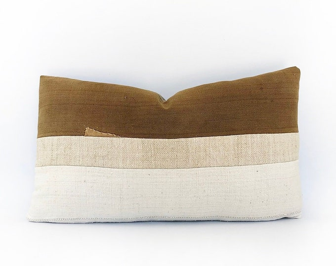 Antique Japanese Sake Burkuro, Antique French Linen And African Mudcloth Lumbar Pillow Cover 14x24