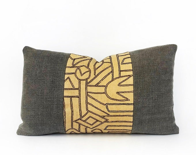 Vintage African Kuba Cloth Textile And Belgian Linen Lumbar Pillow Cover 12x20