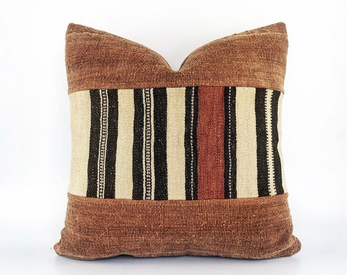 Vintage African Fulani And Rust African Mudcloth Pillow Cover 20x20