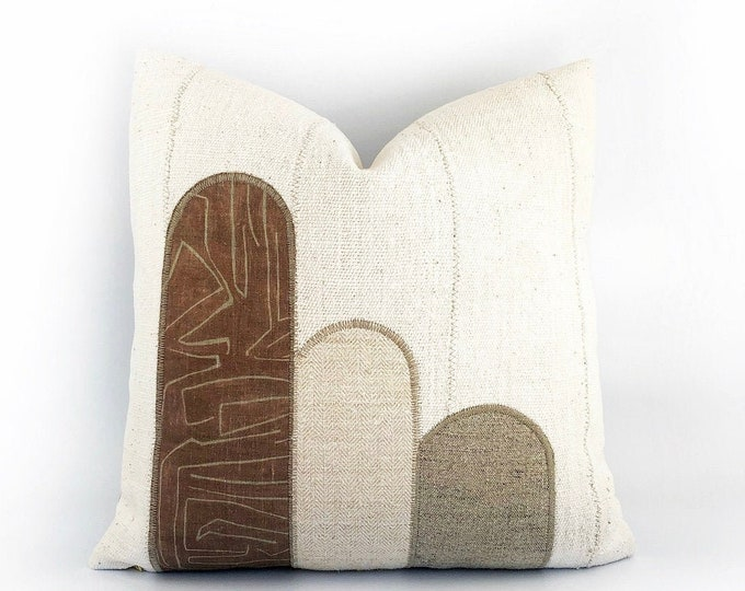 African Mudcloth And Linen Textile Pillow Cover 20x20