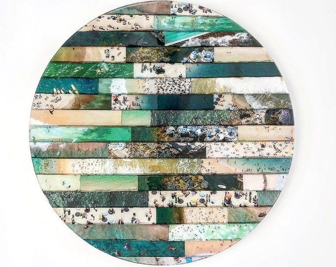 "Da Beach 2 Mixed Media on Wood Round 30"" Diameter"