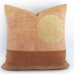 African Mudcloth Modern Minimal Landscape Circle Pillow Cover 20x20
