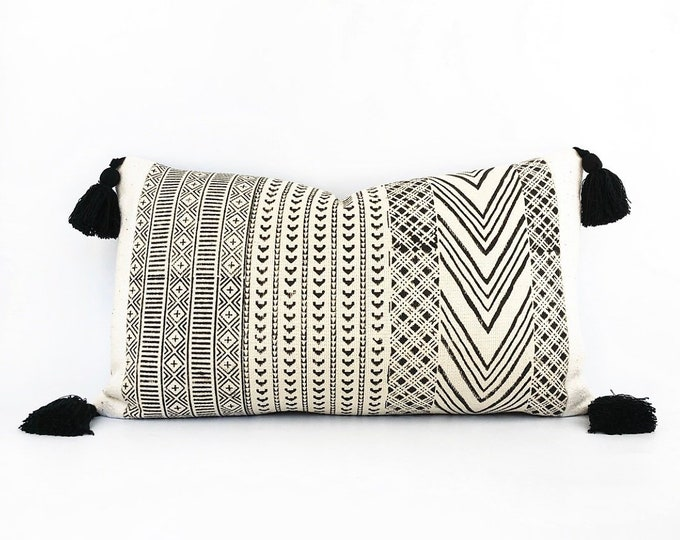 Hand Block Printed Tribal Textile, African Mudcloth And Tassel Pillow Cover 14x24