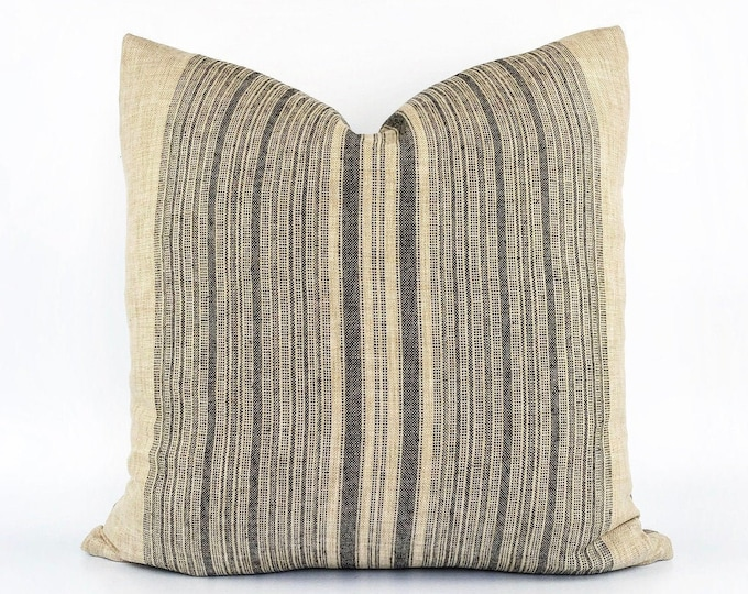 Designer Graphite Striped Linen Pillow Cover Various Sizes