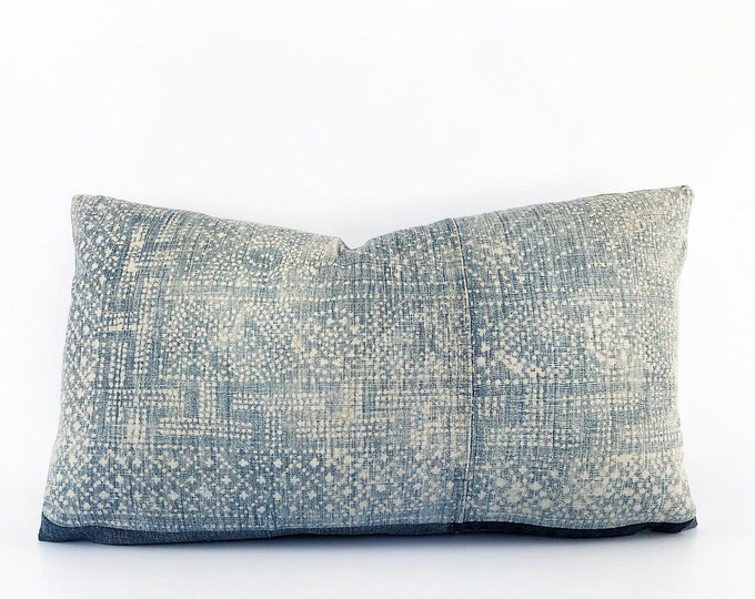 Antique Super Faded Chinese Indigo Batik Lumbar Pillow Cover 14x24