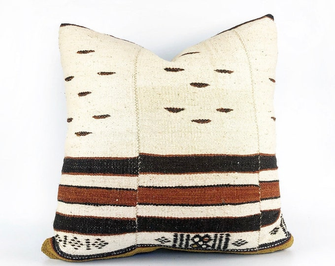 Vintage Handmade Wool African Fulani Textile Pillow Cover 20x20