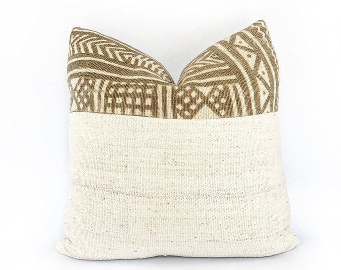 Vintage Brown African Mudcloth And Natural White Mudcloth Pillow Cover 20x20