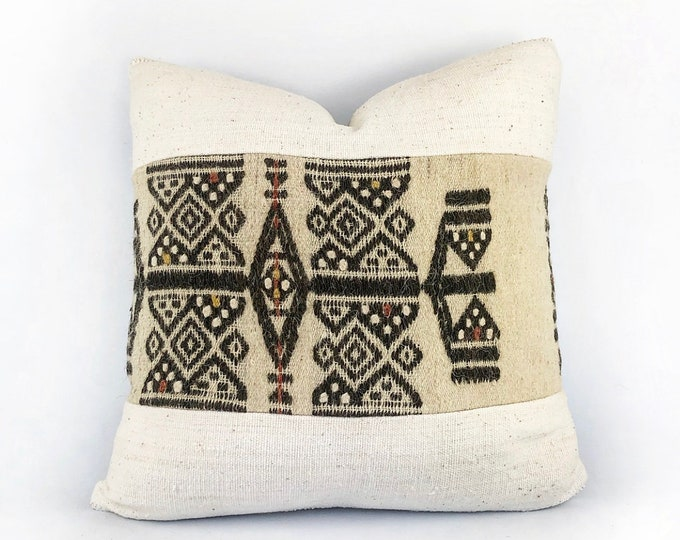 Vintager Hand Woven Fulani Textile And African Mudcloth Pillow Cover 18x18