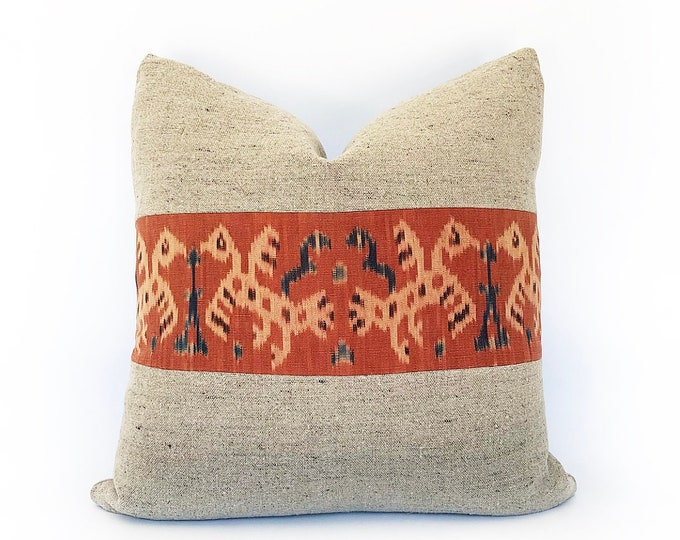 Vintage Indonesian Tribal Ikat And Belgian Linen Pillow Cover 20x20