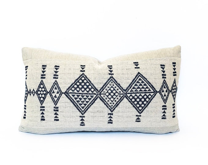 Indoor/Outdoor Woven Blue African Tribal Lumbar Pillow Cover 14x24