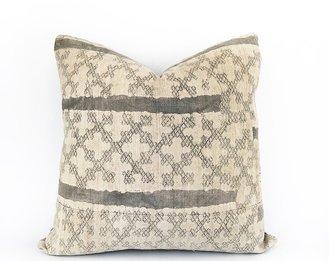 Vintage Gray Batik Hemp Hmong Hill Tribe Pillow Cover 18x18