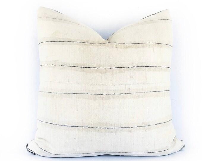 Vintage Hemp Hmong Hill Tribe Blue Stripe Textile Pillow Cover 20x20