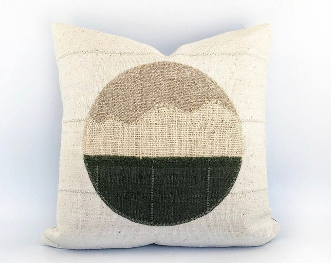 African Mudcloth And Vintage Linen Modern Landscape Circle Pillow Cover 20x20