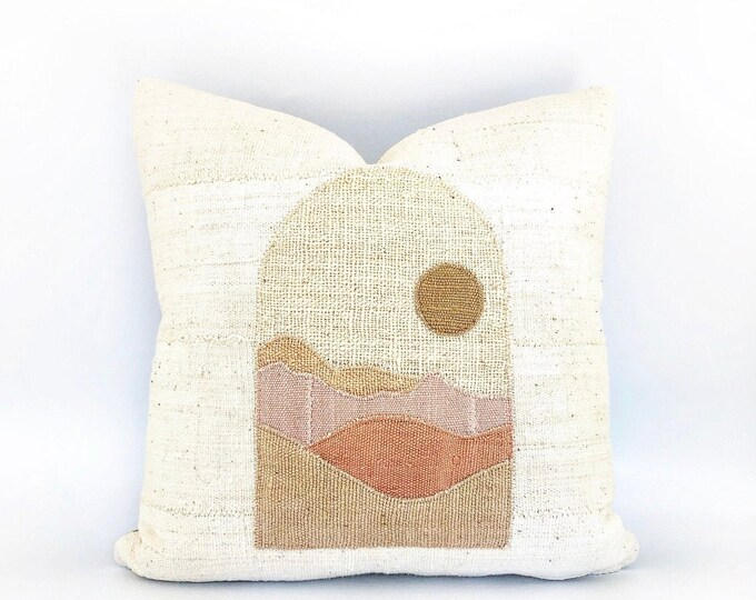 African  Mudcloth Modern Minimal Landscape Pillow Cover 20x20