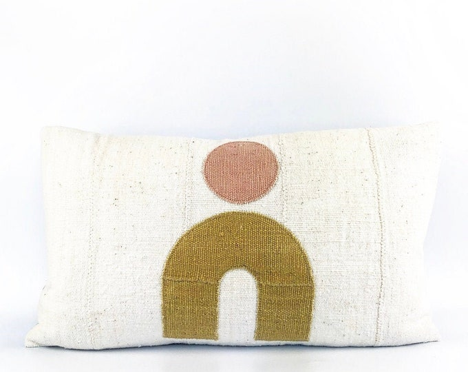 African Mudcloth Modern Arch Pillow Cover 14x24