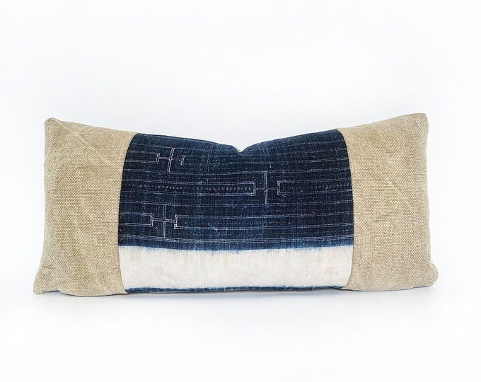 Vintage Indigo Hemp Chinese Batik And Belgian Linen Lumbar Pillow Cover 11x23