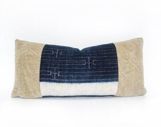 Vintage Indigo Hemp Chinese Batik And Belgian Linen Lumbar Pillow Cover 11x23