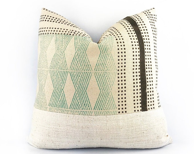 Hand Block Printed Tribal Textile And African Mudcloth Pillow Cover 20x20