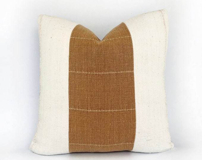 Designer Terra-Cotta Linen And African Mudcloth Pillow Cover 18x18