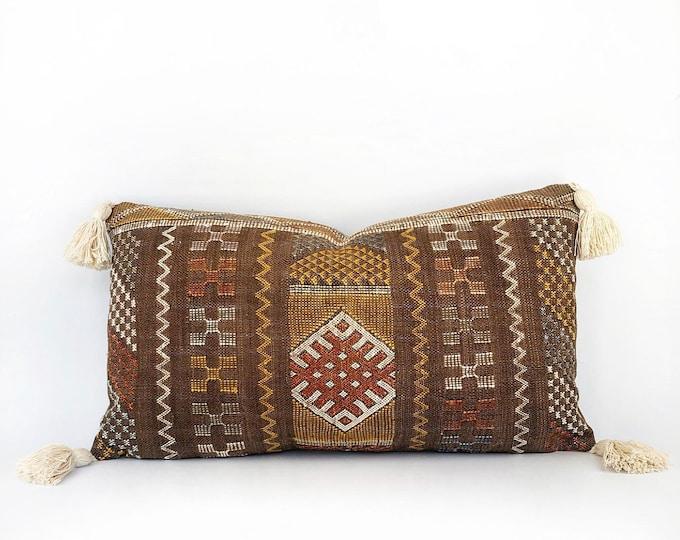 Moroccan Sabra Cactus Silk And Tassel Lumbar Pillow Cover 14x24