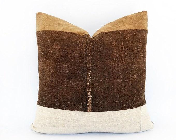 Antique Japanese Suka-Bukuro Sake Bag Textile And Antique French Linen Pillow Cover 20x20
